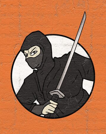 ninja ancient: ninja illustration Stock Photo