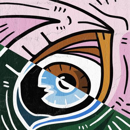 wrinkled face: Fun eye