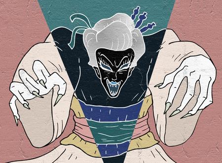 geisha: demon geisha illustration Stock Photo