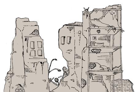 ruinas edificio Ilustración de vector