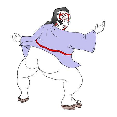 bums: funny fat man Illustration