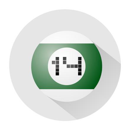 fourteen: billiards ball number fourteen symbol