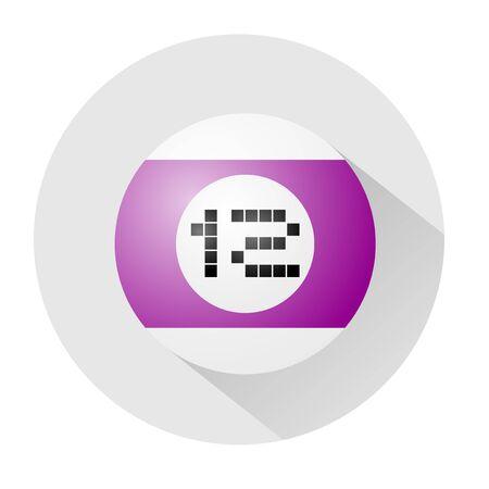 number twelve: billiards ball number twelve symbol Illustration