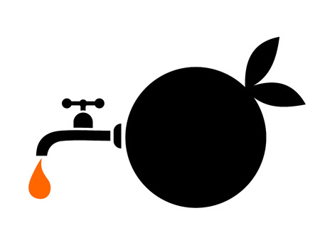 range fruit: orange juice icon Illustration