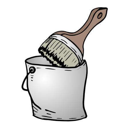 tin: brush and tin bucket