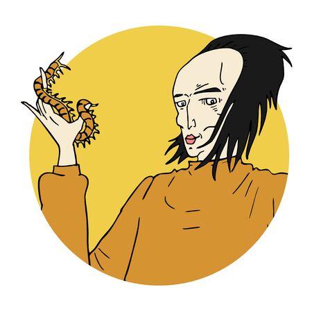 centipede: man and centipede Illustration