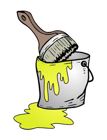 yellow paint: bucket of yellow paint Illustration