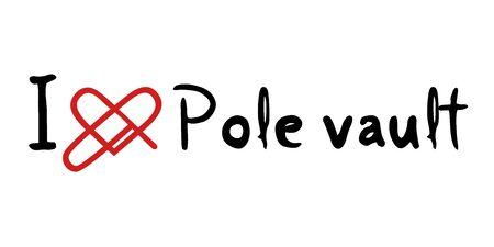 pole vault: Pole vault love icon Illustration