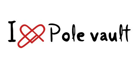 pole: Pole vault love icon Illustration