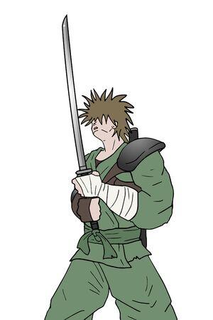 strong: strong samurai Illustration