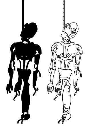 obsolescence: hanged robot illustration