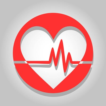 medical heart: red pulse icon