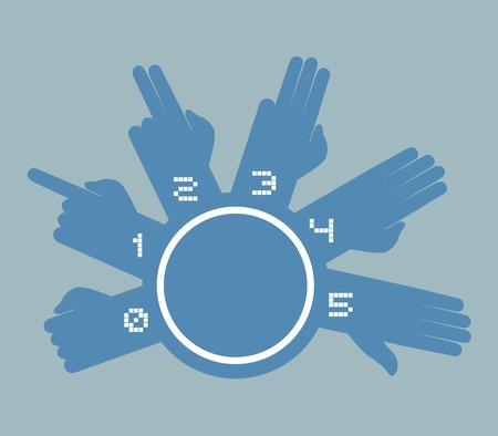 web 2 0: hands counting symbol Illustration