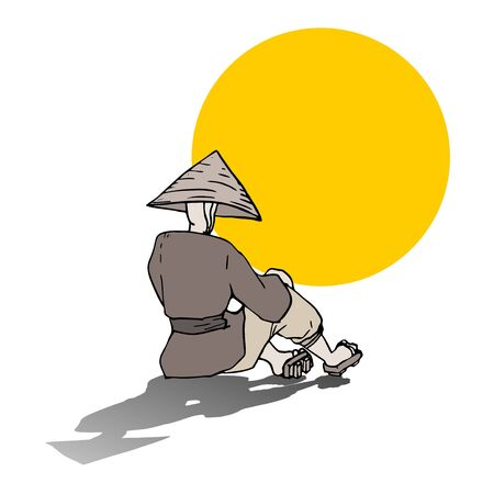 before: oriental man before the sun Illustration