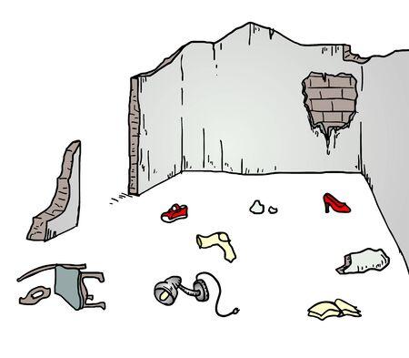 abandoned building: broken wall illustration