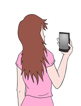 mobil: girl draw Illustration