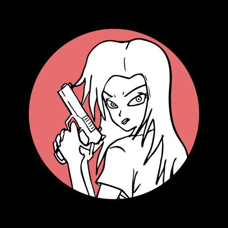 mugging: girl draw Illustration