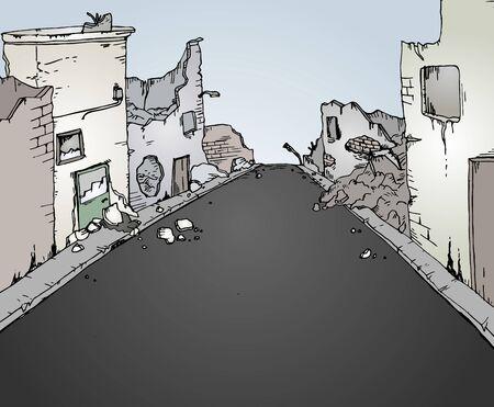 abandoned house: broken street