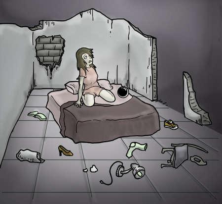 broken house: broken room illustration Stock Photo