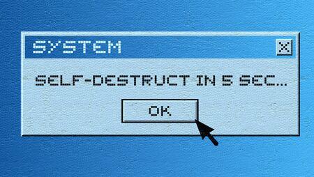 destruction: Computer self destruction message Stock Photo