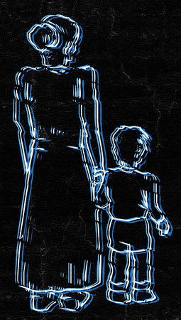 dysfunctional: Art family draw Stock Photo