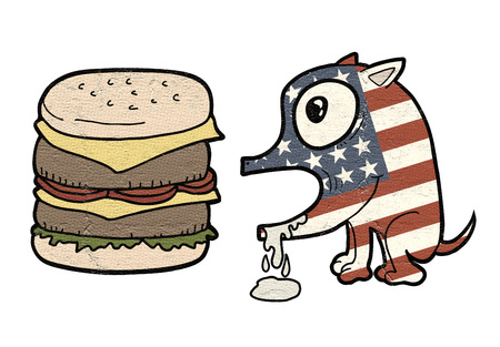 hallucinate: American burger dog