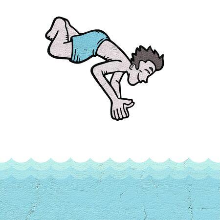 enfant maillot de bain: Dice dans la piscine