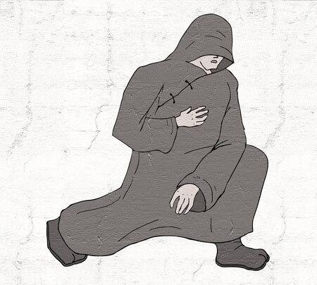 sadhu: reverence monk illustration