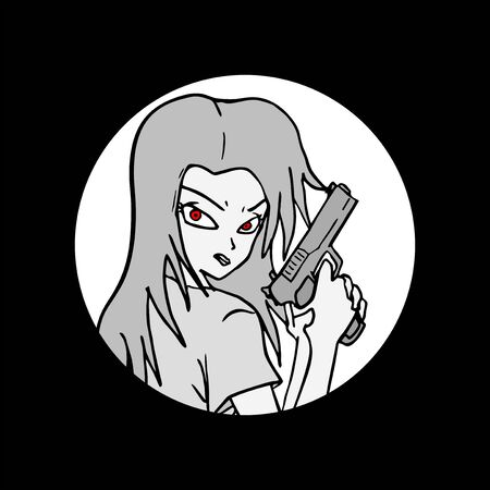 gun holes: girl draw Illustration