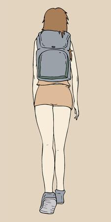 walk away: a girl go to school Illustration