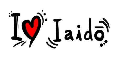 writting: i love iaido message slogan Illustration