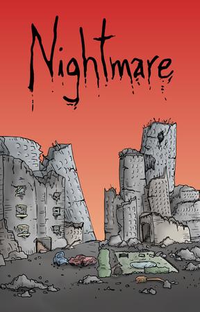 abandoned building: nightmare illustration