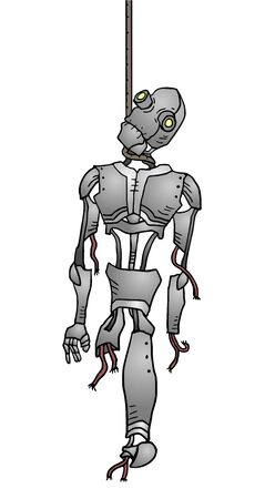 hanged: hanged robot Illustration