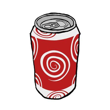carbonated beverage: drink metal can Illustration