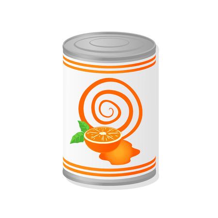 tin packaging: orange juice in metal canº Illustration