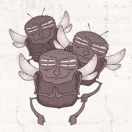 housefly: Funny fly draw Stock Photo