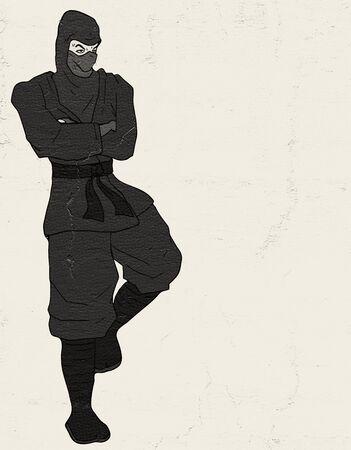 resting: resting ninja illustration Stock Photo