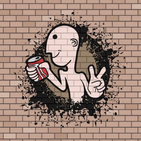 lata de refresco: funny man with soda can draw