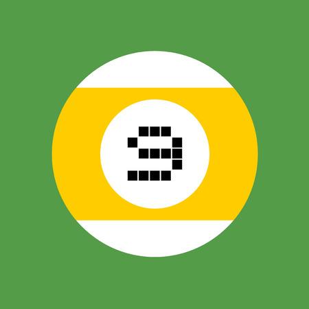 numero nueve: número de la bola de billar de nueve Vectores