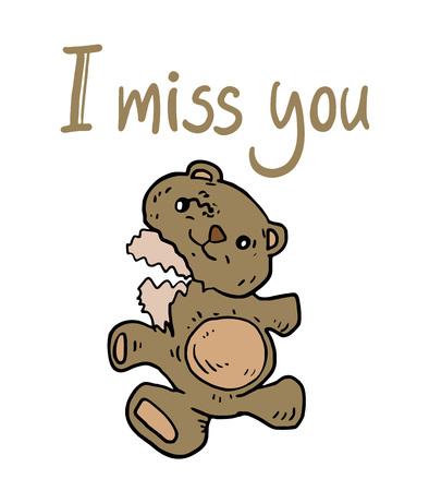 I miss you message Illustration