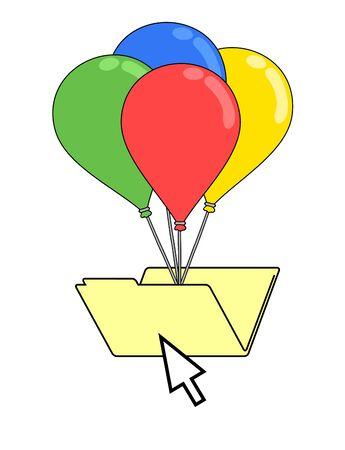 Dossier avec ballons en couleur Banque d'images - 76390039