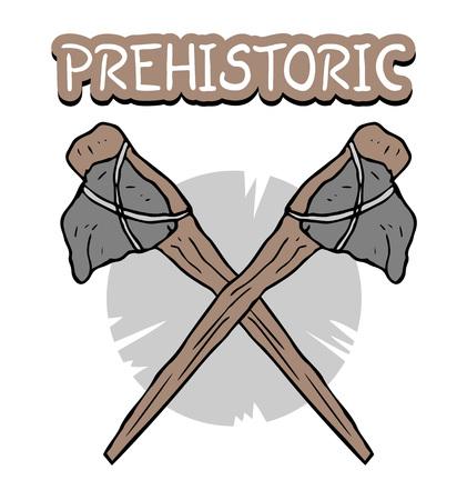 Prehistoric ax symbol Illustration
