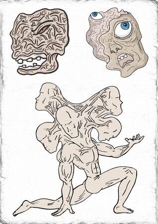 mutant: Creative mutant monster illustration Stock Photo