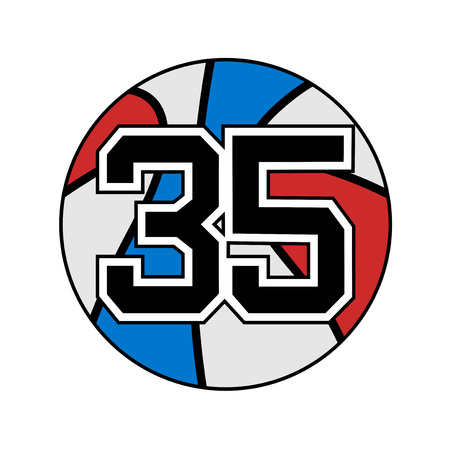 ball of basketball symbol with number 35