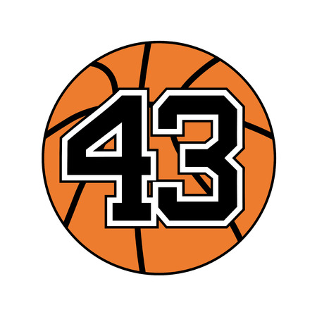 ball of basketball symbol with number forty three Illustration