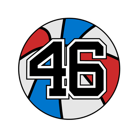 ball of basketball symbol with number 46