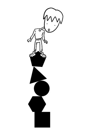 Boy in column of shapes