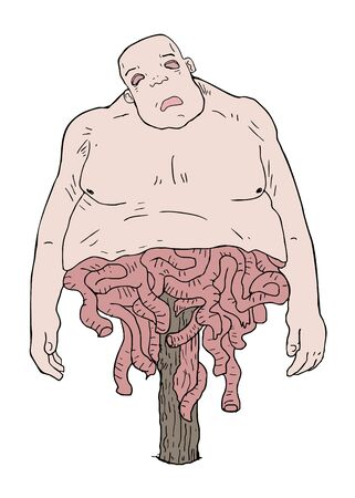 gore illustraiton of fat man with innards out