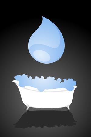 bathtub with water illustration