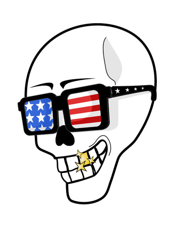 comedy: skull witn USA glasses